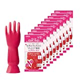 ダンロップ ホームプロダクツ 手袋 天然ゴム プリティーネ レッド L キッチン 食器洗い 掃除 10個セット