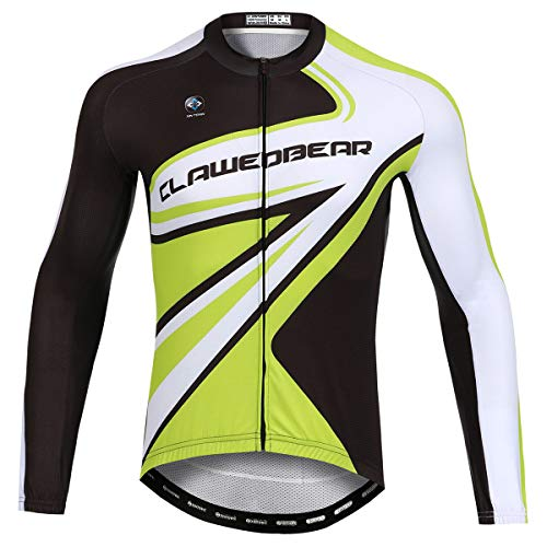Panegy Maillot de Vélo Homme Vêtement VTT Manche Longue Tee Shirt Cycliste Été Séchage Rapide Respirant Vert+Noir-3XL