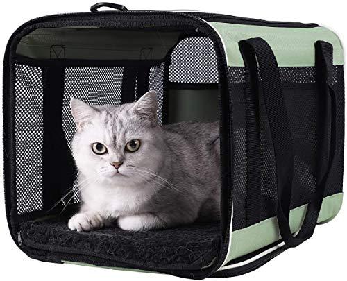 Kaliove Transportín para Mascotas de Carga Superior para Gatos Grandes y medianos Perros pequeños Fácil de Llevar el Gato en el Transporte Almacenamiento Limpio Prueba de Escape,Verde