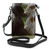 Un blanco y un negro escocés terrier pequeño bolso cruzado para teléfono móvil, bolso de mano de piel sintética para mujer con correa ajustable para la vida diaria
