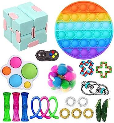Nokiwiqis Fidget Toy Packs, Set De Juguetes Sensoriales Fidget Baratos con Simple Dimple Pop Bubble Infinite Cube Stress Ball y Anti Stress Relief Toy Stress Ball (22 Y) de