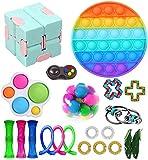 Nokiwiqis Fidget Toy Packs, Set De Juguetes Sensoriales Fidget Baratos con Simple Dimple Pop Bubble Infinite Cube Stress Ball y Anti Stress Relief Toy Stress Ball (22 Y)