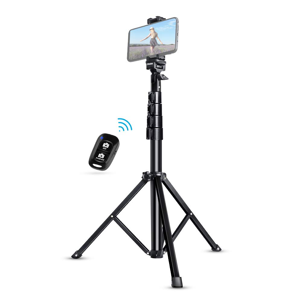 Selfie Stick Tripod, UBeesize 51 Extendable Tripod Stand with Bluetooth Remote for iPhone & Android Phone, Heavy Duty Aluminum, Lightweight