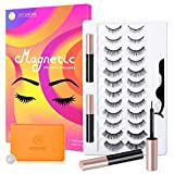 Magnetic Eyelashes with Eyeliner Kit, Upgraded 12 Pairs Magnetic Eyelashes Natural Look and 2 Tubes of Waterproof Magnetic Eyeliner, Reusable 3D Magnetic False Lashes and liner Comes with Applicator and Makeup Mirror