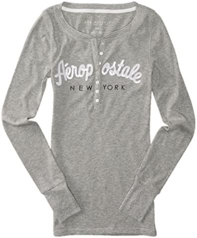 AEROPOSTALE Womens Bling Sequin Thermal Henley Shirt X Small Gray product image