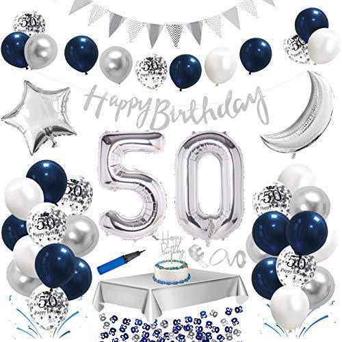 50.Geburtstag Dekoration Blau Silber,Happy Birthday Blau Geburtstag Party Deko Set,Riesen Folienballon,Nummerndekoration,Konfetti Luftballon,Konfetti Ballon Latexballons mit Happy Birthday Banner