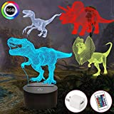 FULLOSUN Dinosaur Gifts, T-rex Dinosaur 3D Night Light for Kids (4 Patterns) with Remote Control & 16 Colors Changing & Dimmable Function & Gift Wrap, Xmas Birthday Gifts for Boy Girl