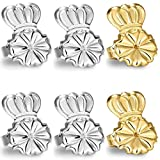Original Magic Earring Lifters and Earring Backs – 3 Pairs of Hypoallergenic Adjustable Earring Lifts - Pairs of Earring Backs– Easy to Use, Drooping Earrings (silver/gold)