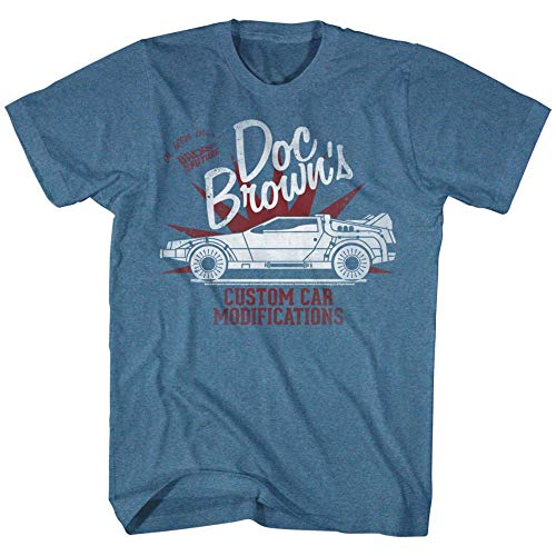 Official Men's Doc Brown's Custom Car Modifications T-Shirt, Pacific Heather Blue