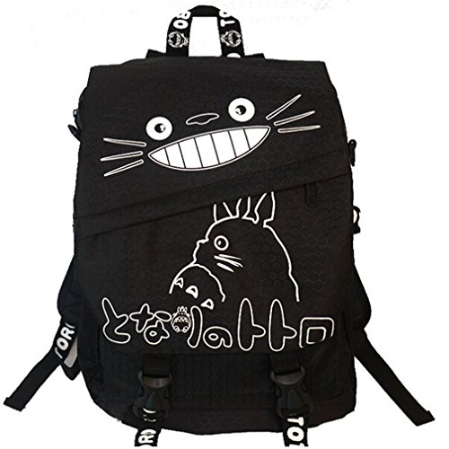 inhh Men Nachbar Totoro Anime Karikatur Segeltuch Rucksackbeutel Schultasche (Schwarz)