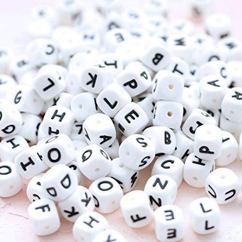 Mamimami Home 60pc Alphabet Würfel Lebensmittelqualität Silikon perlen im 26 Briefe BPA Frei Silikon Kauen Perlen zum Zahnen Kauen Perlen