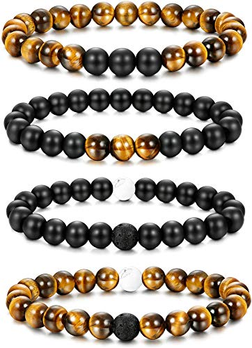 Finrezio 4 Pcs Bead Bracelet Set for Men Women Tiger Eye Stone Natural Healing Beads Yoga Elastic Bracelets