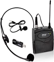Pyle Belt Pack Wireless Microphone System - Mic Set with USB Receiver, Transmitter, Headset and Clip Lavalier Lapel Mic, Audio Cable, Two 'AA' Battery - Great for Karaoke, PA, Dj Party - Pro PUSBMIC43