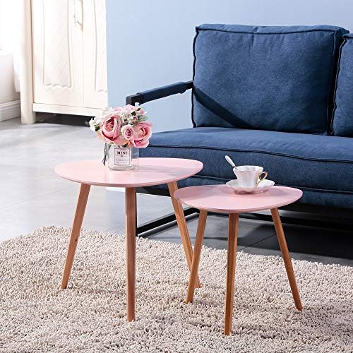 GOLDFAN Coffee Table Set of 2 Living Room Wooden Nesting Tables Easy Assembly Triangle Tea Table Bedside Table,Pink