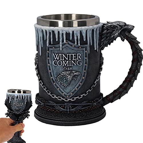 ZHZHZ Cocebet gótico 3D, Trono de Hierro Terreno Tazas de Cerveza Tazas de Acero Inoxidable de Resina Copa de Vino de Acero Inoxidable Taza y Tazas Cumpleaños Regalos del día de San Valentín