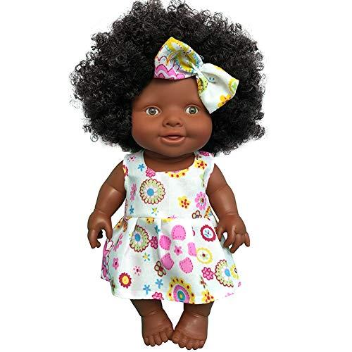 Modonghua Muñeca negra de 25,4 cm, muñeca africana para niños de moda, juegos interactivos de vinilo suave para niñas cumpleaños