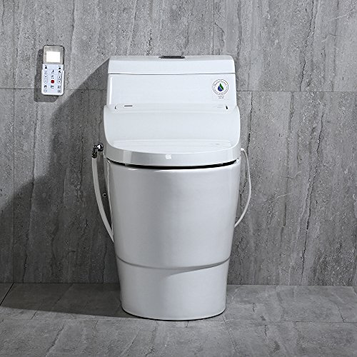 WoodBridge T-0008 One Piece Toilet, Elongated with...