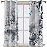Cortinas para sala de estar, 114 cm de largo, paisaje Bolsena lago en Italia, para dormitorio, salón, 71 cm x 114 cm, 2 paneles