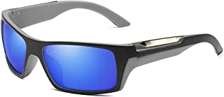 Pouch & Cross Set Unisex Bicycle Drive Running Fishing Climbing Sunglasses Polarized Lens Wellington Sunglasses (Color : Blue+Grey, Size : Free)