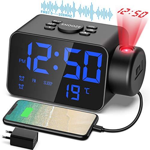 TAKRANK Orologio digitale da comodino proiettore orologio radiosveglis con radio FM Display 12 24 ore display temperatura 2 allarmi Funzione snooze Luminosità regolabile e uscita ricarica USB
