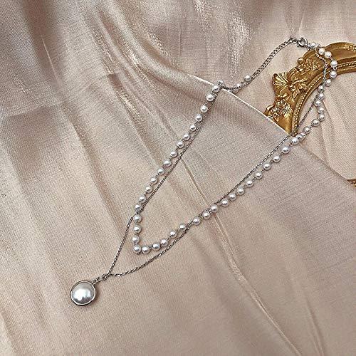 Collar Joyas Collar De Gargantilla De Perlas De Moda para Mujer, Cadena De Doble Capa para Chica Linda, Color Plateado, Colgante De Oro,Gargantilla