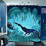 Halovie Duschvorhang, 180 x 180 cm, wasserdicht, schimmelfest, aus Polyester-Stoff, 3D-Effekt, Badewanne, Gardinen mit 12 Haken, Duschvorhänge für Badezimmer Haus 1,8 m x 2 m - Wal