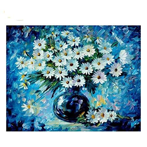 GKJRKGVF Madeliefje Met Fles Tekenen Door Getallen Bloemen DIY Schilderen Handwerk Op Canvas Olieverfschilderij Kunst Kleurplaten Home Decor
