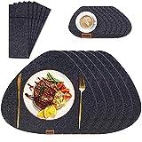 Tischset aus Filz 6 Sets schwarz 43x33cm schmutzabweisend hitzebeständig abwaschbar Filz Platzset,Mit 6 Filzuntersetzer und 6 bestecktaschen,für Hause Küche Restaurant Hotel(18er Set)