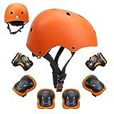 GLAF ヘルメット こども用 キッズ プロテクター セット 自転車 ヘルメット3-8歳 頭囲48~54cm 子供用 保護具 超高耐衝撃性 耐久性 軽量 サイクリング スケートボード ローラースケート (オレンジ, S(48CM~54CM))