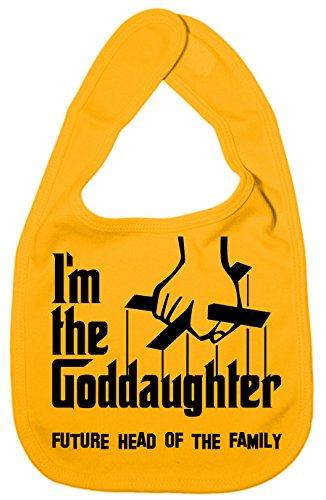 IIE Bavoir unisexe pour bébé avec inscription I'm The Goddaughter, Future Head of Family Jaune