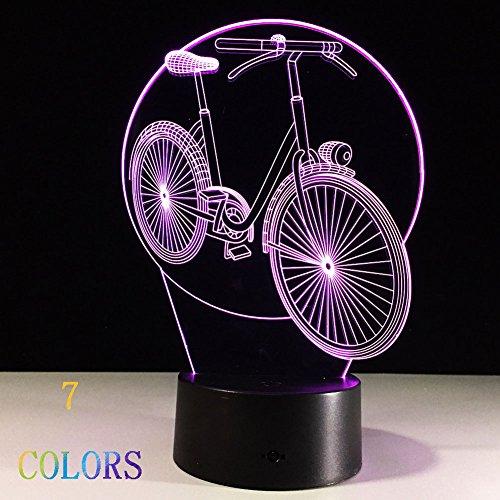 Nachtlampje, 3D-illusie, optiek, nachtlampje, bureaulamp, LED, USB/accu Touch Control 7 kleuren, cadeau voor verjaardag voor kinderen (fiets)