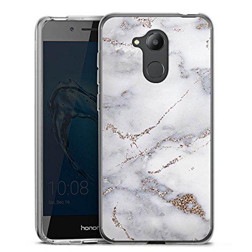 DeinDesign Silikon Hülle kompatibel mit Huawei Honor 6C Pro Hülle transparent Handyhülle Marmor Glitzer Erscheinungsbild Muster