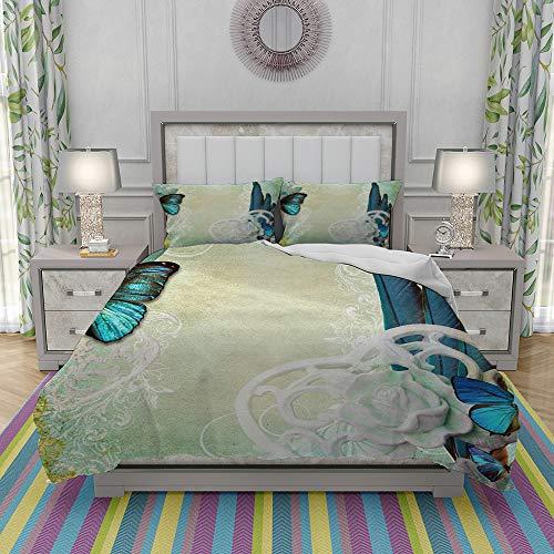 niet Dekbedovertrek Set-Bedding, oude vergeelde papier achtergrond met vlinder en bloemen,Quilt Cover Bedlinen-Microvezel 140×200CM met 2 Kussensloop 50×80CM
