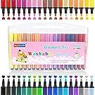 Hospaop Washable Watercolor Pen, 36 Assorted Colour, Felt Tip Colouring Pens Colour Fibre-Tip Pens for Adult Children