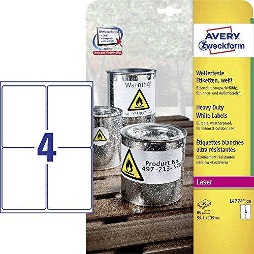 Avery Zweckform L4774-20 Heavy Duty White Labels 99.1 x 139 mm Weather-Resistant 20 Sheets / 80 Labels White