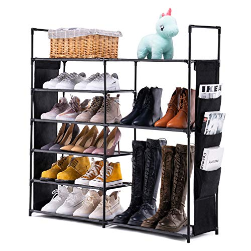 Youdesure 6 Tiers Shoe Rack Shoe Storage Organizer Non-Woven Boots Organizer with Side Pockets Holds 20-25 Pairs for Closets Entryway Black