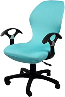 SYROVIA Pure Color Office Computer Dining Rotating Chair Covers One Piece Universal Lift Chair Slipcovers Pads Covers(Cyan)