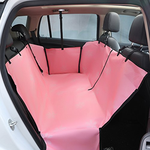 Love Tree Dog Seat Covers Waterproof Pet Car Seat Covers with Seat Belts & Zipper Nonslip Back Seat Cover Dog Hammock Convertible Extra Side Flaps Best for Cars Trucks Suvs (Pink)