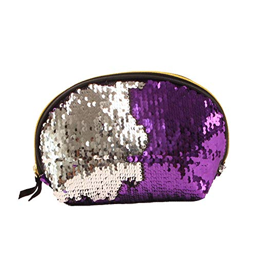 Lovemay Make up Cartoon Print Sequin Sac Voyage Cosmetic Case Multi-function Storage Pouch Hand Bag Sac (16x8x14CM Violet + Argent)