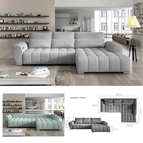 BMF - Cama eléctrica Braven sofá esquinero orientado a la derecha cualquier color por elegir su tipo de tela moderno sofá eléctrico gris tela / cuero sintético - 304 cm x 218 cm