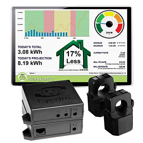 Eyedro Home Energy Monitor - Track, React, Save Money - View Your Energy Usage in a Variety of Ways via My.Eyedro.com (No Fee) - Electricity Costs in Real Time - EHWEM1-LV (Ethernet Wireless Mesh)