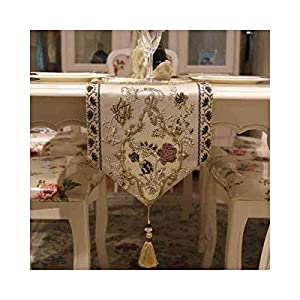 Epinki Mulberry Silk Embroidered Flowers with Tassels Table Runner for Family Dinners Gatherings Indoor Outdoor Parties Everyday Use