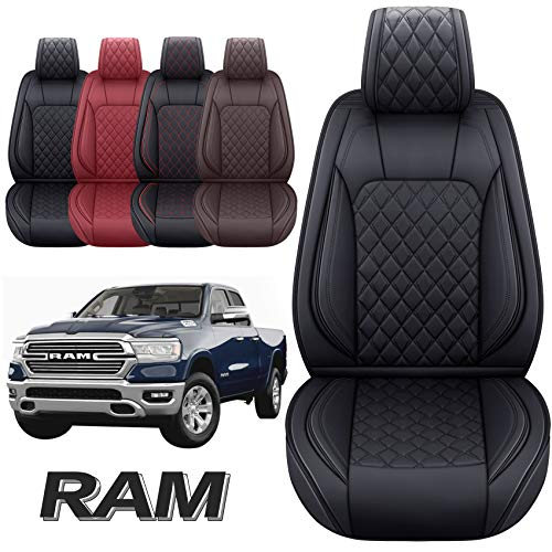 Aierxuan Dodge Ram Front Seat Covers Custom Fit 2009-2021 1500/2500/3500 Truck Pickup Crew Quad Regular Cab Heavy Duty Waterproof Leather Airbag Compatible Cushions(2 PCS Front/Black)