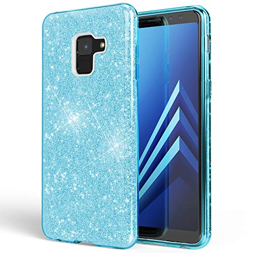 NALIA Hülle kompatibel mit Samsung Galaxy A8 (2018) Glitzer Handyhülle Ultra-Slim Silikon Hülle Back-Cover Schutzhülle, Glitter Handy-Tasche Bumper, Dünnes Bling Phone Etui, Farbe:Türkis