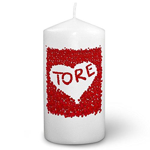 Kerze mit Namen Tore - Fotokerze mit Design Rosenherz - romantische Wachskerze, Taufkerze, Hochzeitskerze, Stumpenkerze