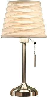 Lámpara de cabecera del dormitorio simple habitación moderna del boda de la lámpara de escritorio caliente romántica nórdica pequeña lámpara de mesa de Wih de tela blanca plisada Pantallas de iluminac