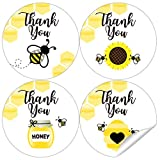 2 Inch Bee Thank You Stickers - Bumble Bee Baby Shower Birthday Party Labels Favors Decorations - 60 Stickers