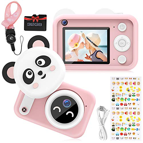Vimpro Kids Camera, Newest 1080P HD Digital Dual Cameras with 32GB SD Card, Toddler Selfie Video Recorder Toy for 4-12 Year Old Girls (Pink)