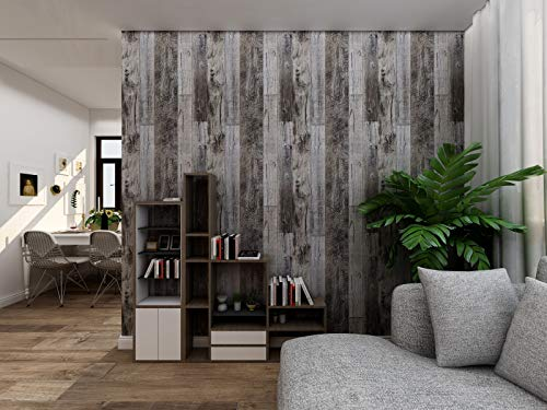 Wood Grain Peel and Stick Wallpaper, Wood Plank Grey Contact Paper, Vinyl Self-Adhesive Removable Wallpaper Waterproof Shiplap Decorative Wall Home Decoration 17.7'×118.1'