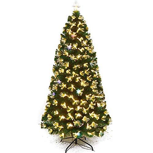 Tändt fiberoptiskt julgran, gångjärn guld konstgjorda Xmas Tree flerfärgade lampor tall med toppstjärna-a 4Ft (120cm) (julgranpresenter)